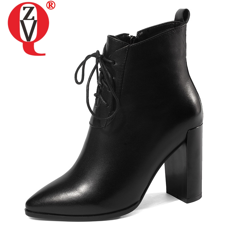 ZVQ newest hot sale genuine leather pointed toe super high square heel zipper cross tied black