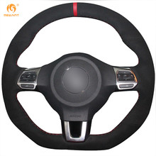 MEWANT Black Suede Car Steering Wheel Cover for Volkswagen Golf 6 GTI MK6 VW Polo GTI Scirocco R Passat CC R-Line 2010