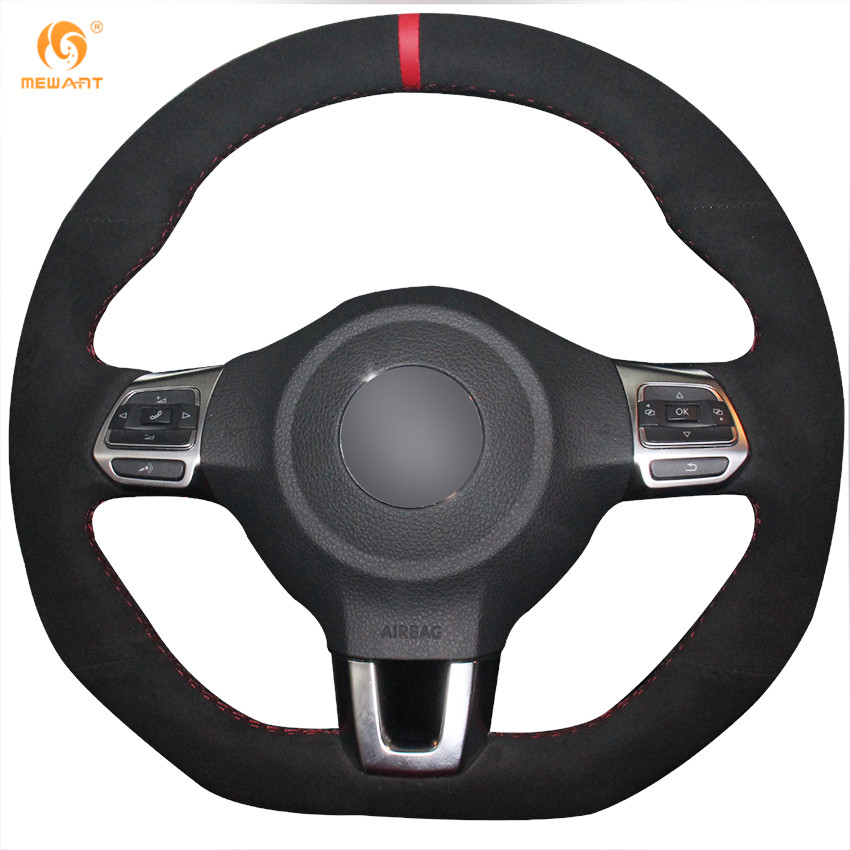 mewant black suede car steering wheel cover for volkswagen. Black Bedroom Furniture Sets. Home Design Ideas