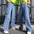 Harajuku Unisex Hosen Plaid Muster Lose Lange Frauen Männer Hose Outwear Mode Blau Jeans Cargo Hosen Streetwear Hipster Herbst-in Hosen & Caprihosen aus Damenbekleidung bei