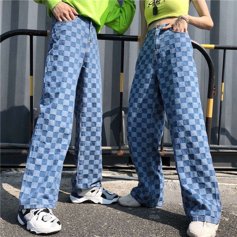 Harajuku Unisex Pants Plaid Pattern Loose Long Women Men Pant Outwear Fashion Blue Jeans Cargo Pants Streetwear Hipster Autumn