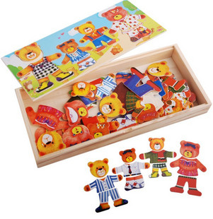 Free shipping educational toys wooden color four Winnie brother family locker box stereo jigsaw puzzle game