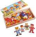Free shipping educational toys wooden color four Winnie brother family locker box stereo jigsaw puzzle game creative gift 1 pc