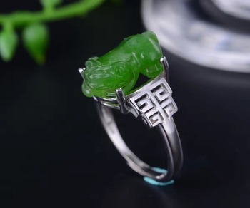 KJJEAXCMY fine jewelry 925 silver inlaid with natural jade women's ring of pure silver ring jewelry.