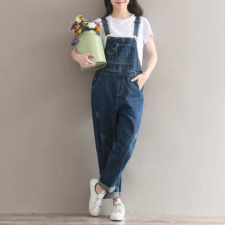 2019  Artistic wash denim cotton suspenders for girls with wide legs (10)