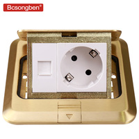 Bcsongben copper gold panel damping slow elastic floor socket 16A Russia Spain EU standard power socket usb supply any match