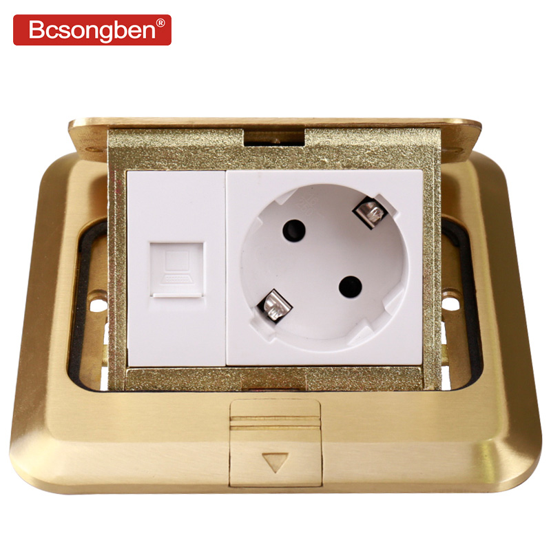Bcsongben copper gold panel damping slow elastic floor socket 16A Russia Spain EU standard power socket usb supply any match wallpad luxury copper and ss304 panel us 6 pin floor socket damping slow open for ground with mouting box ac110 250v