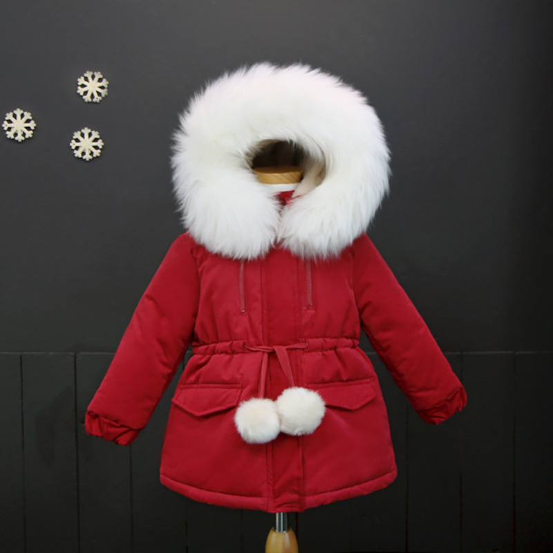 2017 Xmas Kids Down Jackets Removable Collar Girls Cotton Outerwear Thick Fleece Warm Children Winter Coat for Girls Colthing