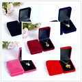 2pcs 5Colors Pick Fashion Wedding Rectangle Velvet Pendant Box Jewelry Display Square Gift Box Packaging Necklace Box Case
