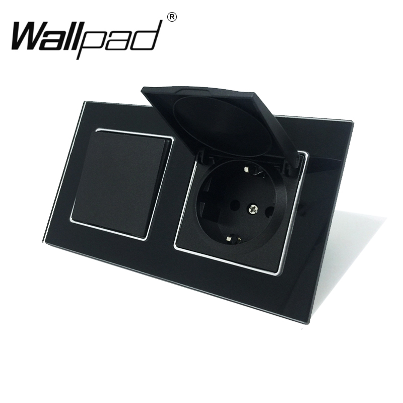 1 Gang 1 Way Wall Light Switch and Dust Cap Schuko EU Socket with Clips Socket with Cap Wallpad Black Glass Panel 110V-250V1 Gang 1 Way Wall Light Switch and Dust Cap Schuko EU Socket with Clips Socket with Cap Wallpad Black Glass Panel 110V-250V