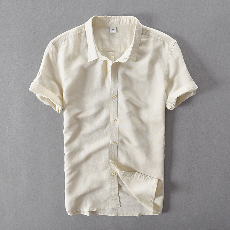 Italia estilo algodón Lino camisa de manga corta hombres verano casual  camisas hombres marca Moda hombre camisa masculina chemise a0c136cb84f01