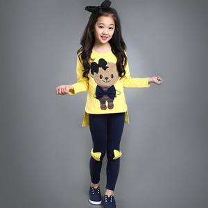 Image 2 - ملابس أطفال طقم رياضي للخريف ربيعي بأكمام طويلة + سروال مريح ملابس بناتي للأطفال من سن 3 إلى 10 سنوات ملابس للمراهقات