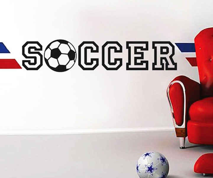 Personalized football soccer ball wall sticker sports boys for Sports decals for kids rooms