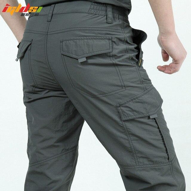 Pantalones casuales de secado rápido de los hombres del ejército del verano del estilo militar pantalones de carga tácticos de los hombres pantalones ligeros a prueba de agua