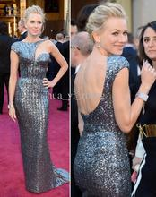free shipping 2014 vestidos formales long Naomi Watts 85th Oscar Celebrity Dresses Red Carpet Gowns Metal Silver Best Dressed