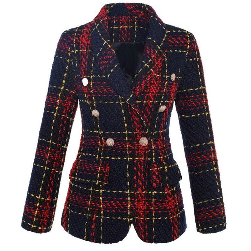 High Quality Tweed Runway Designer Vintage Plaid Blazer Retro Slim Fit 2019 New Autumn Winter Womens Jacket Outwear Ladies Coat
