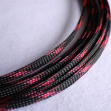 1/10/100 Meters Black & Pink- High quality 6mm Braided PET Expandable Sleeving Density Sheathing Plaited Cable Sleeves