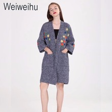 Mohekann Women Cardigans Long Kimono Embroidery Sweaters Casual Knitted Coat Cashmere Ladies Sweater Autumn Female Clothing