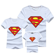 AD 1PCS Superman Family Matching T shirts Quality Cotton Summer Style Mother and Daughter Father and Son Clothes Mommy and Me
