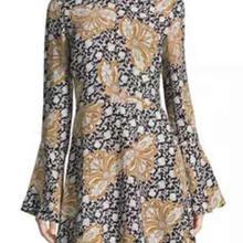 Flower Print Women Sheath Dress Flare Sleeve Dresses 07K531