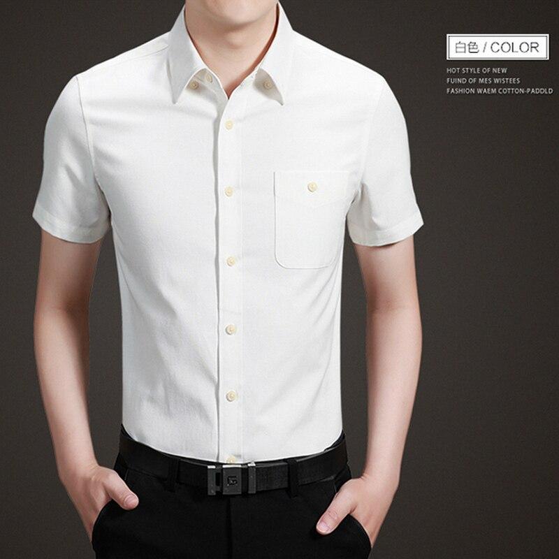 2016 New Summer Fashion Kasual Pria Kemeja Putih Lengan