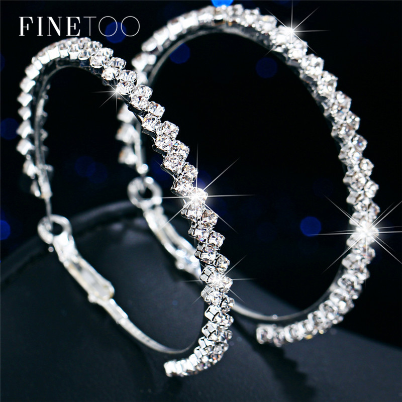 Fashion Bling Crystal Circle Hoop Earrings For Women Girls Silver Color Geometric Big Hoops Statement Earrings Jewelry