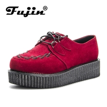 Fujin Brand  Flock Red Suede autumn Creepers shoes plus size 35-41 women Shoes ladies platform moccasin 2019 Women Flats Female