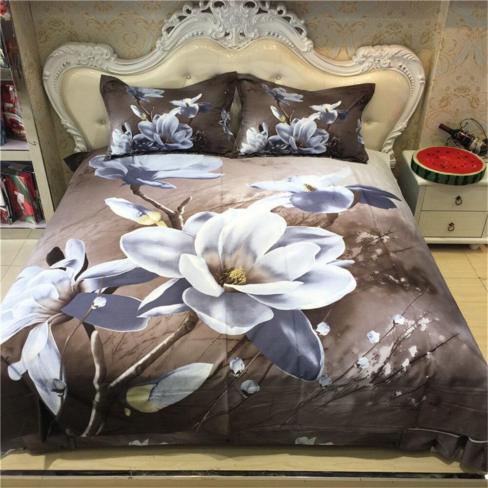 Elegant Blanc Magnolia Imprime Floral 3d Ensemble De Literie Queen