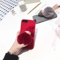 Luxury Velvet 3D Lovely Cute Baby Warm Merry Christmas Mobile Phone Housing For iPhoneX 8 8Plus Protective Shell Coque Funda