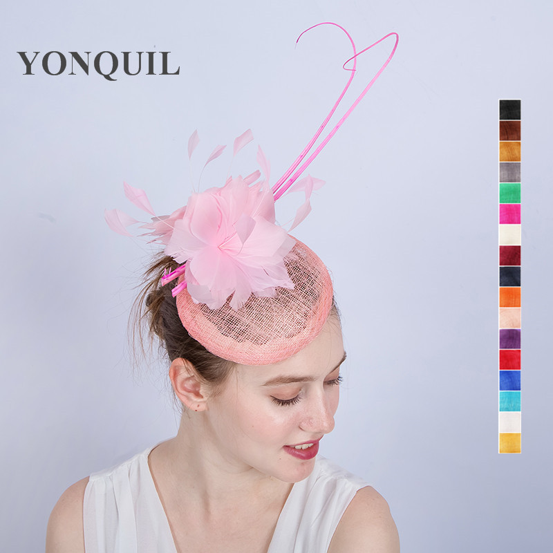 Multi Colors Birthday Hats Fascinator Wedding Hair Clip Feather Flower Women Cap Headbands Party