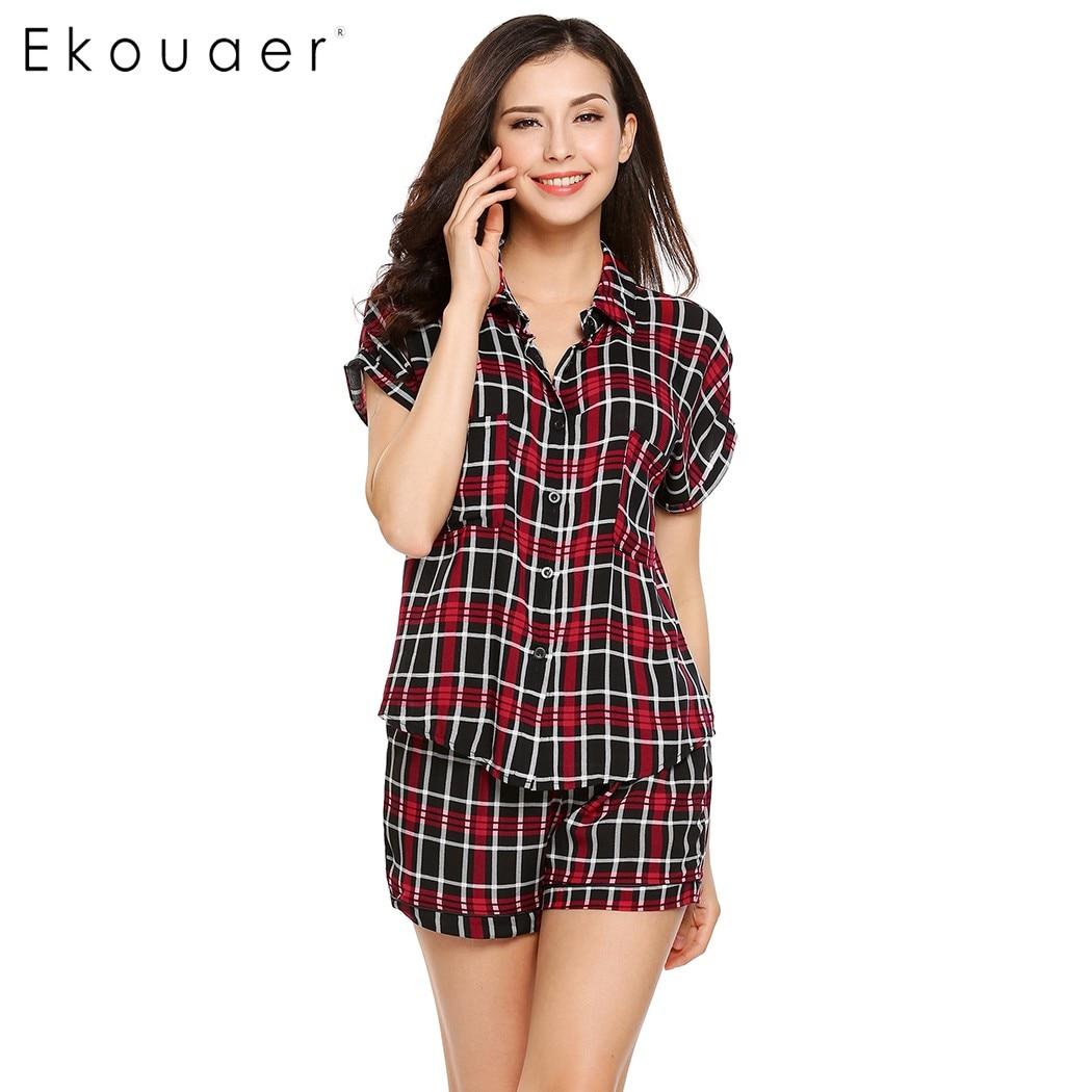 Ekouaer Women Pajamas Set Short Sleeve Button Down Plaid Dot Plaid Pajama Set Summer Casual Check Pocket Pajamas Nightwear Suit