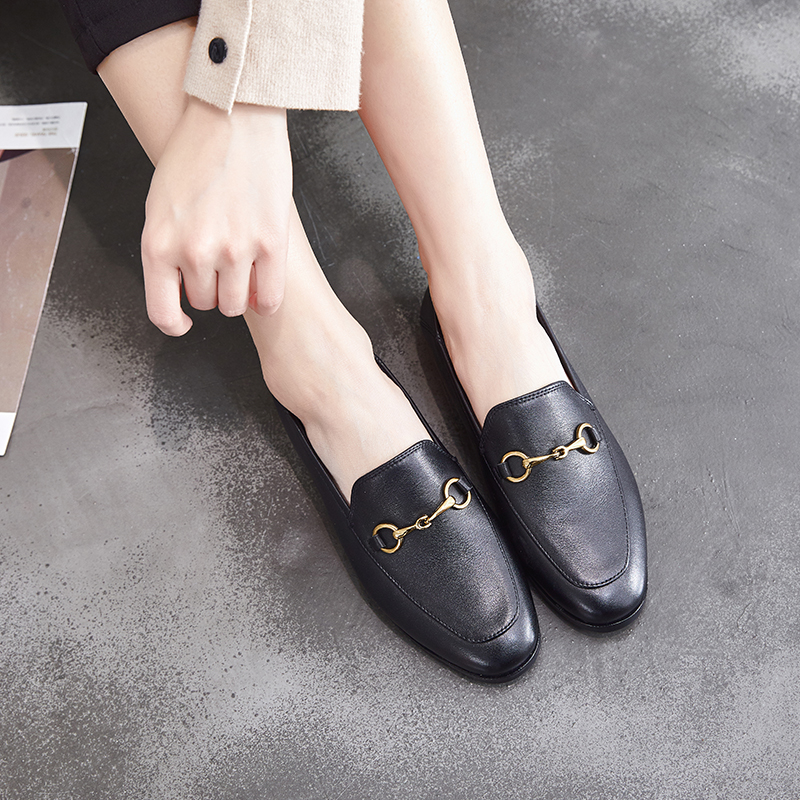 Dumoo Brand 2019 Flats Basic Shoes Women Loafers Cow Leather Metal Decoration Fashion Ladies Loafers Genuine