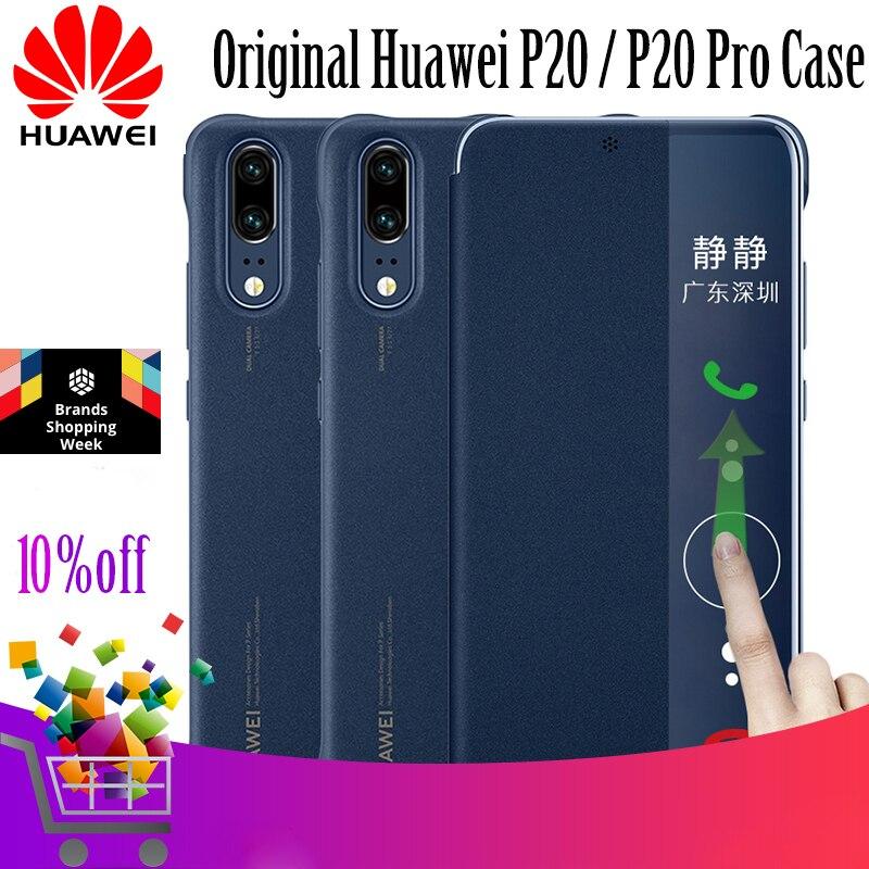 Para HUAWEI P20 caso 100% Original oficial Smart View PU cuero flip cubierta para HUAWEI P20 pro caso para Huawei p20 Funda