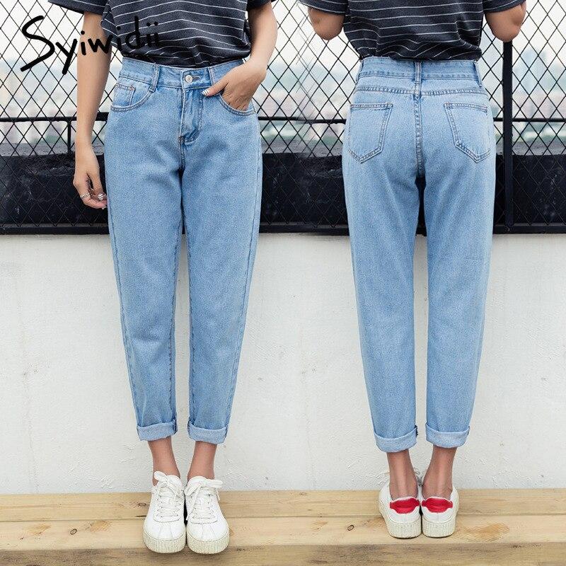 100% Baumwolle Hohe Taille Jeans Blau Plus Größe Mom Boyfriend-jeans Für Frauen Harem Hosen 5xl Straße Stil Koreanische Mode 2019 Neue