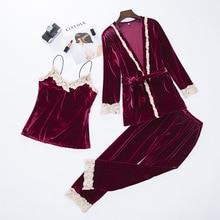 Новинка, Женский бархатный комплект из 3 предметов, кружевная Пижама, осенний Пижамный костюм, сексуальная ночная рубашка с цветочной отделкой, Свадебный халат, интимное белье XXL