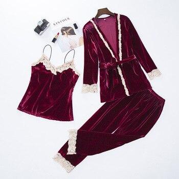 Women New Velvet 3PCS Lace Sleepwear Set Autumn Pajama Suit Sexy Floral Trim Nightwear Bride Wedding Robe Intimate Lingerie XXL