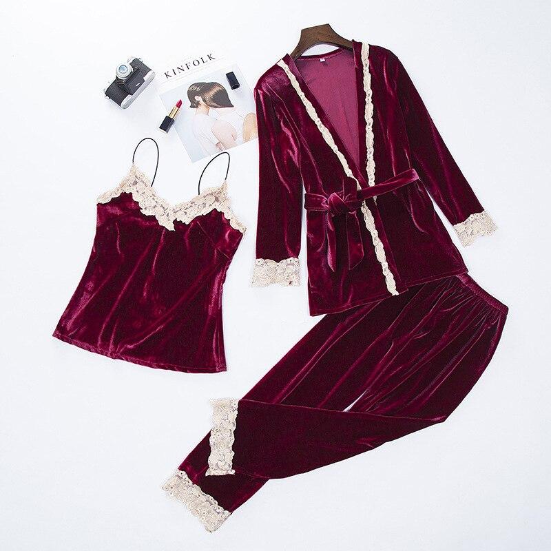 Women New Velvet Warm 3PCS Lace Sleepwear Autumn Winter   Pajama   Pyjama   Set   Floral Trim Nightwear Soft Home Wear Lingerie Suit