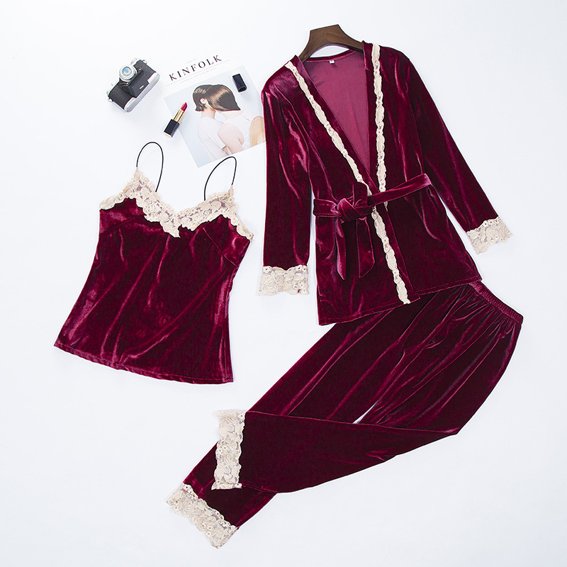 Women New Velvet Warm 3PCS Lace Sleepwear Set Autumn Winter Pajama Suit Floral Trim Nightwear Soft Home Wear Intimate Lingerie
