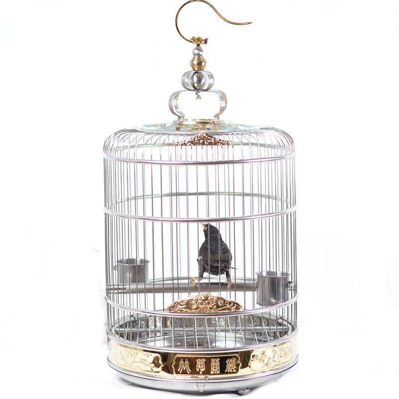 Cage à oiseaux en acier inoxydable pur édition de luxe grand frère Cage grive grand perroquet Starling Cage à oiseaux ronde
