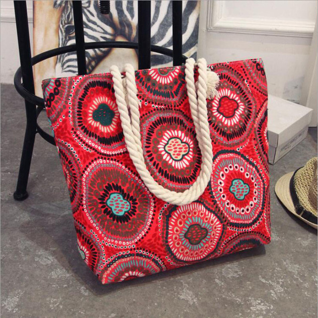 Fashion Folding Women Big Size Handbag Tote Ladies Casual Flower Printing Canvas Graffiti Shoulder Bag Beach Bolsa Feminina 4