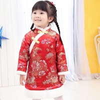 Chinese Spring Festival Baby Girls Dress Coat Thick Quilted Winter Girl Clothes Chi Pao Dresses Children