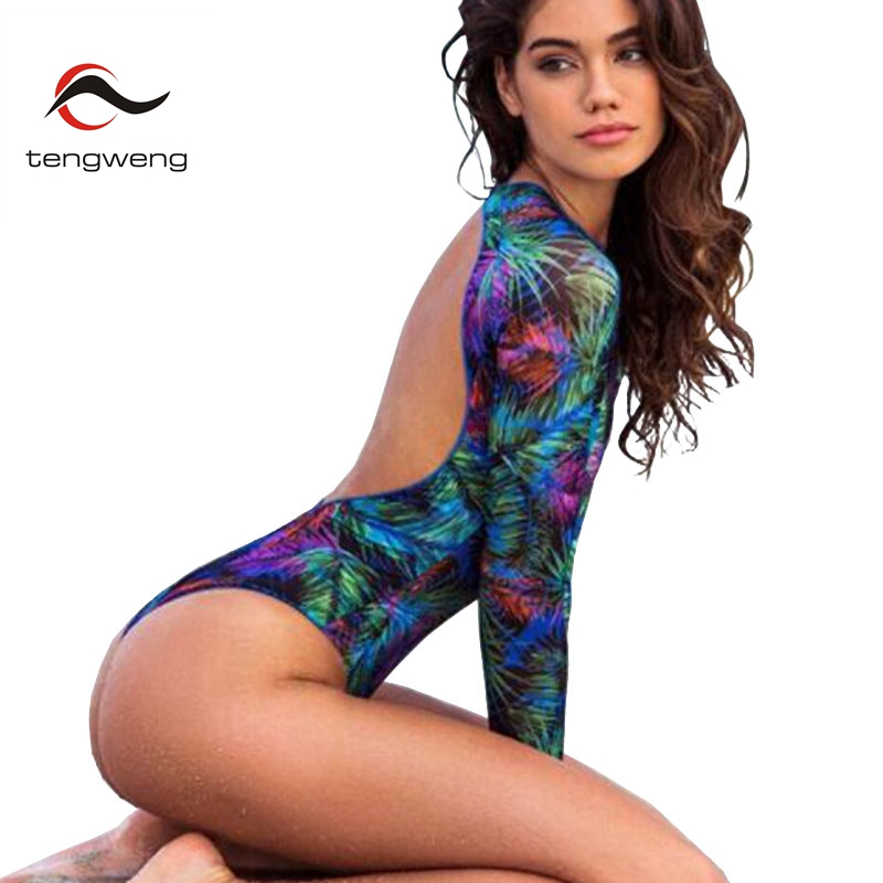 Tengweng 2019 Sexy Backless Print One Piece Women Swimsuit Surfing Plus Size Thong Swimwear Push Up Padded Long Sleeves Swimsuit(China)