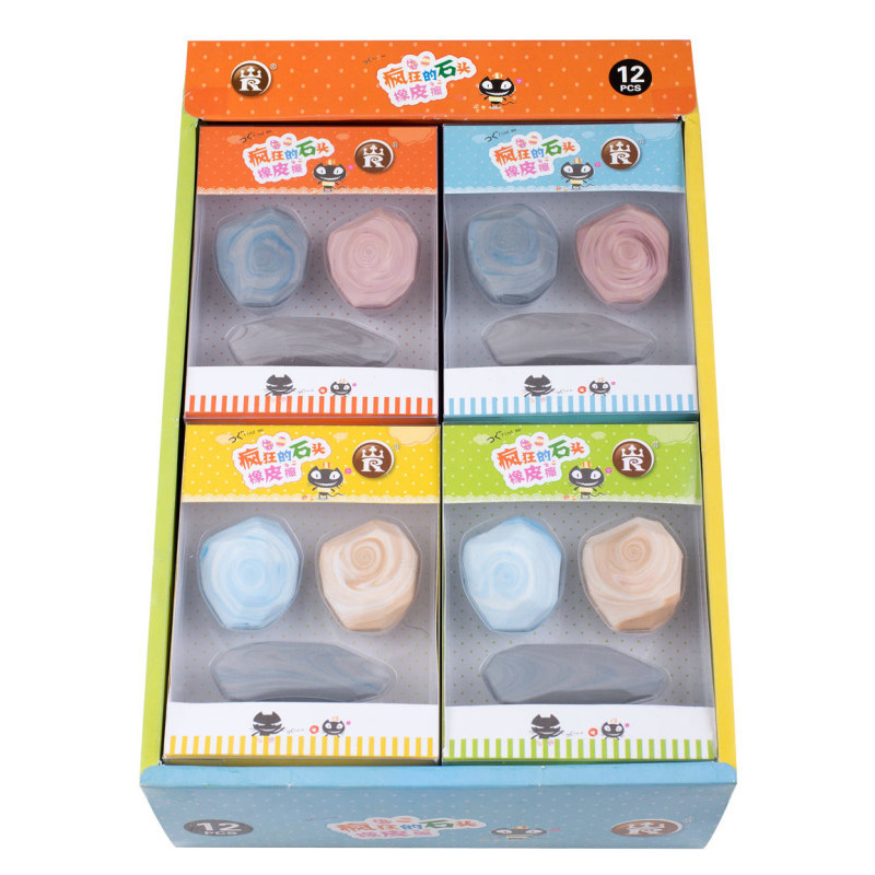 1PC Creative Stone Erasers Cute Marble Rubber Erasers Kawaii Pencil Erasers For Kids School Office Supplies Stationery