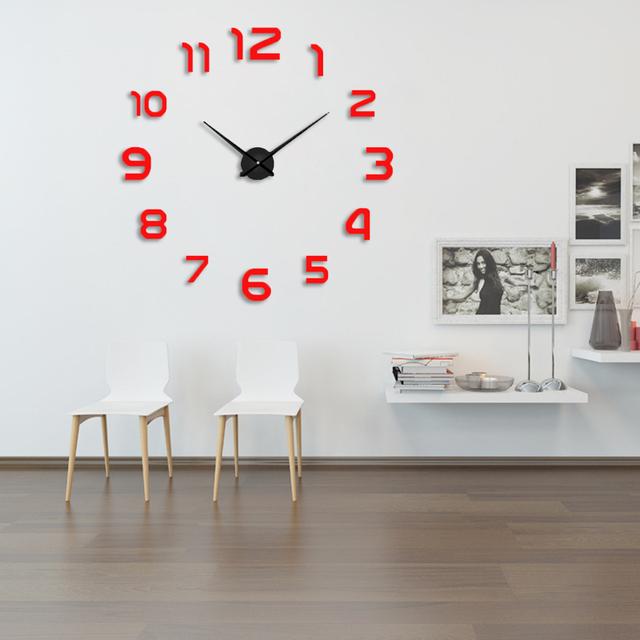 2019 New Metall Moderne 3D DIY Wall Clock Acrylic EVR Metal Mirror Home Decoration Super Big 130cm x130 cm Factory Freeshipping