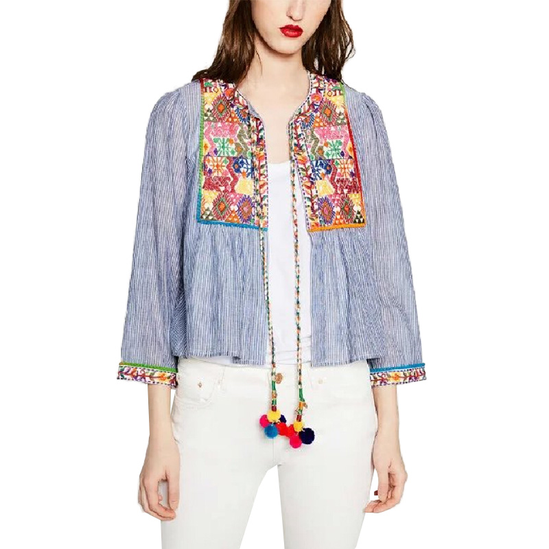 Women vintage boho embroidery jacket loose retro