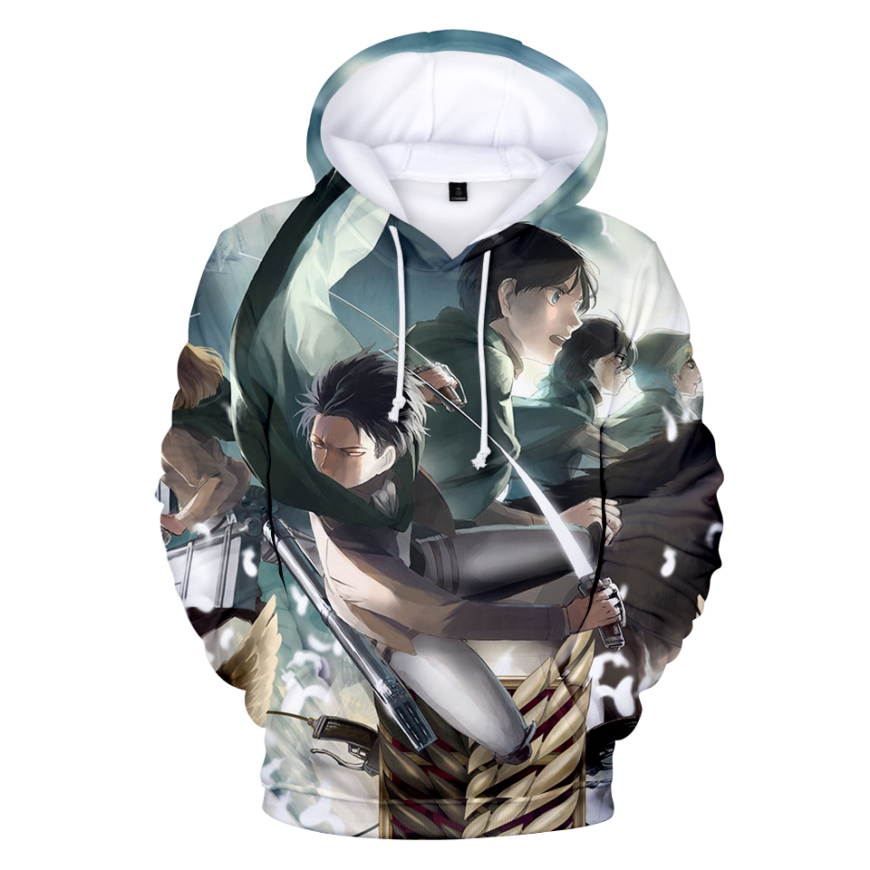 2018 Top Anime Attack Giant 3D Print Hoodie Sweatshirt Anime Men/Ladies Fashion Trendy Loose Fit Hoodie Hoodie