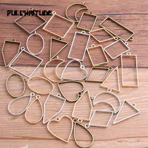 10pcs/lot 7 Color Geometric Figure Charm Hollow Glue Blank Pendant Tray Bezel Charms DIY Handmade Bezel Mold