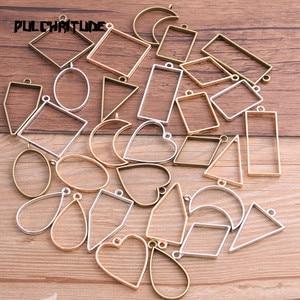 PULCHRITUDE 10pcs/lot 7 Color Geometric Figure Charm Hollow Glue Blank Pendant Tray Bezel Charms DIY Handmade Bezel Mold(China)