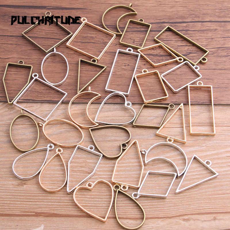 Pulchritude 10 Pcs/lot 7 Warna Geometris Gambar Pesona Hollow Lem Kosong Liontin Tray Bezel Pesona DIY Buatan Tangan Bezel Cetakan
