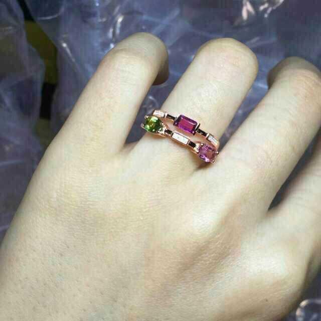 Bague en tourmaline multicolore naturelle bague en pierres précieuses naturelles 925 en argent sterling à la mode élégante bulle énergétique bijoux de fête pour femmes - 2